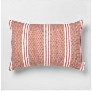 Hearth & Hand Outdoor Pillow Stripe Oblong Rose